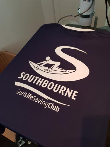 Southbourne Surf Life Saving Club, Surf Life Saving GB, lifeguard, kids club, children, training, swimwear, white, vinyl, transfer, heat press, printed, Chadwick Textiles, t-shirt, t-shirt printing, commercial, Bournemouth Poole, Dorset, text