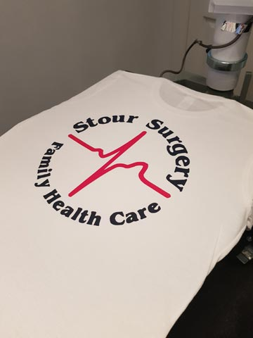 Stour Surgery, Family Health Care, NHS, hospital, doctor, GP, commercial, navy, red, vinyl, transfer, heat press, printed, t-shirt, t-shirt printing, Christchurch, Southbourne, Bournemouth, Poole, Dorset, text