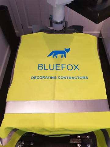 Bluefox Decorating Contractors, painter, decorator, builder, workwear, hi-vis, hi-visability, high-vis, high-visability, vest, reflective, neon, safety, blue, vinyl, transfer, heat press, printed, t-shirt printing, Bournemouth, Poole, Dorset, text
