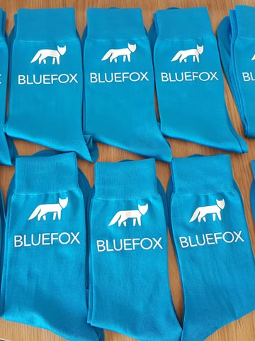 Bluefox Decorating Contractors, painter, decorator, builder, workwear, socks, white, vinyl, transfer, heat press, printed, t-shirt printing, Bournemouth, Poole, Dorset, text