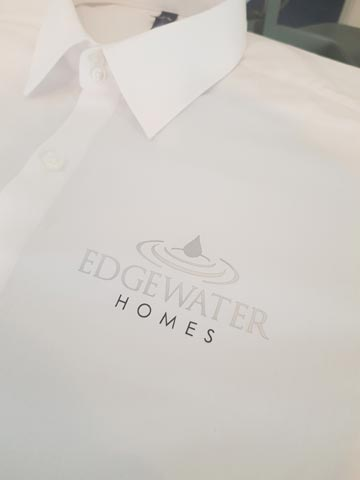 Edgewater Homes, real estate, formal shirt, long-sleeve, silver, black, vinyl, transfer, heat press, printed, t-shirt printing, commercial, Bournemouth, Poole, Dorset, text