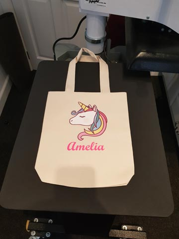Unicorn, name, picture, text, cotton shopper, tote, jute, shopping, bag, transfer paper, neon, pink, vinyl, transfer, heat press, printed, t-shirt printing, kids, children, Bournemouth, Poole, Dorset