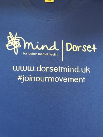 Dorset Mind, charity, white, vinyl, transfer, heat press, printed, t-shirt, t-shirt printing, commercial, sports, Bournemouth, Poole, Dorset, text