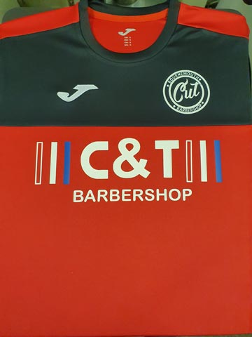 C and T Barbershop Football Shirt Print by Barritt Garment Printing Bournemouth