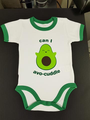 Can I Avo Cuddle Custom Design Print on White and Green Baby Grow by Barritt Garment Printing Bournemouth