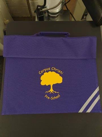 Corpus Christi Pre-School Book Bag Print by Barritt Garment Printing Bournemouth