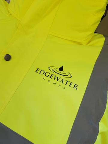 Edgewater Homes Hi-Vis Jacket Print by Barritt Garment Printing Bournemouth